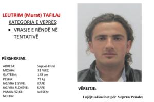 Policia në kërkim të Leutrim Tafilajt nga Klina – kërkon ndihmë nga qytetarët për arrestimin e tij