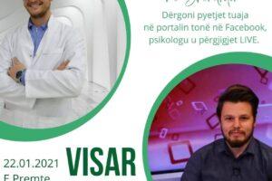 """Sonte në """"Takim virtual me Shëndritin"""" psikologu klinik, Visar Sadiku"""