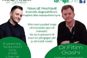 """Sonte në """"Takim virtual me Shëndritin"""" hematologu, Dr. Fitim Gashi"""